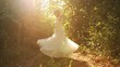 Young Woman Vintage Dress Spinning Forrest Happiness Slow Motion