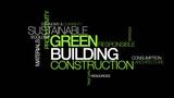 Green building construction sustainable word tag cloud animation poster