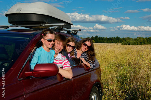 Family vacation, car trip on summer, travel with kids