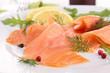 close up on smoked salmon
