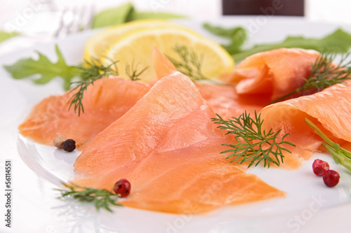 close up on smoked salmon