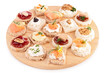 isolated assortment of canape,toast