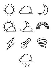 Weather line icon set. Vector illustration