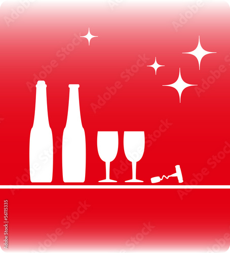 holiday background with wine bottle and wineglass silhouette