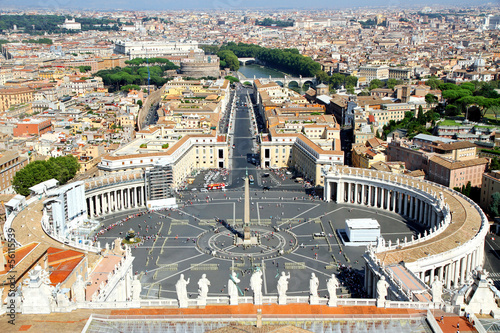 incredible view of the city of Rome from above the dome of the C