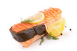 salmon stuffed with scallop and leek