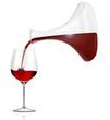 Rotwein eingießen. Rotweinglas mit Karaffe