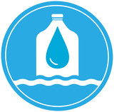 plastic bottle with drop and wave - cargo drinking water symbol