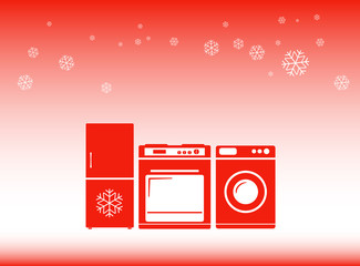 red winter background - hot discounts on home appliances symbol