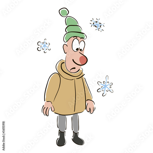 Man with a frostbitten nose