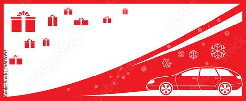 red winter background with gifts, car and snowflake