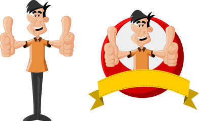 Cartoon man smiling with thumbs up.