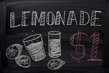 Blackboard Sign advertising Lemonade for sale