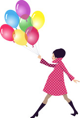 Pregnant woman walking with balloons