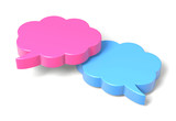 Two 3D Clouds Speech Bubble