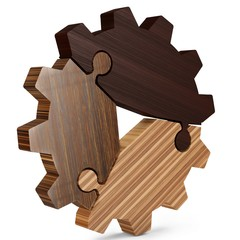 3d  teamwork and success concept , gear from puzzle pieces