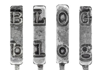 Word BLOG in Vintage Typewriter Typebars Isolated on White