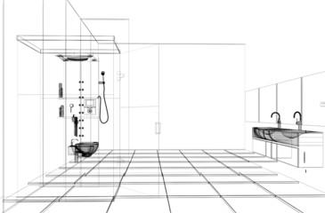 Progetto Bagno Doccia Sanitari CAD 3d