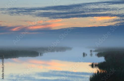 River at foggy sunrise