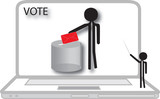 teacher  voting on computer