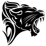 roaring lion black and white vector tribal design
