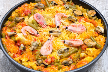 Paella with seafood