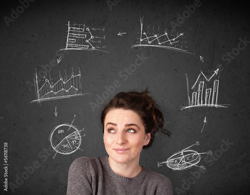 Young woman thinking with charts circulation around her head