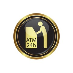 ATM cashpoint icon on black with gold button