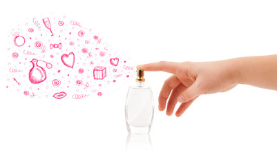 sketches coming out from beautiful perfume bottle