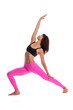 Pretty Woman in Yoga Pose - Reverse Warrior Position.