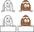 American Football Balls Cartoon Characters. Collection Set 9