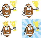 American Football Balls Cartoon Characters. Collection Set 1