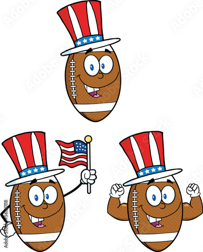 American Football Balls Cartoon Characters. Collection Set 7