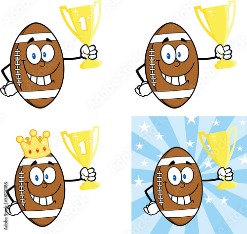 American Football Balls Cartoon Characters. Collection Set 1