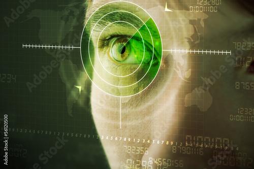 Fototapeta Modern man with cyber technology target military eye