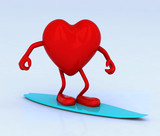 heart with arms and legs on surf board