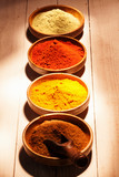 Line of colourful ground spice