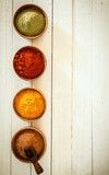 Border of colourful spices