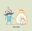 banker with a sack of money