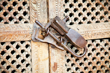 Ornament vintage lock on wooden door, Kathmandu.Nepal.