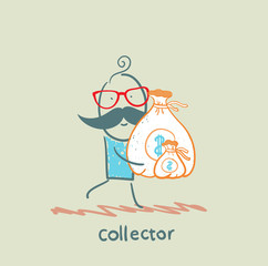 collector is running with a bag of money