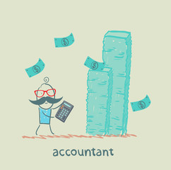 accountant with a calculator considers a lot of money