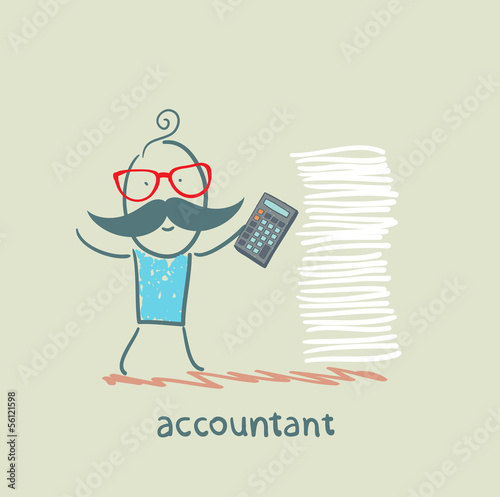 accountant with a calculator and a stack of documents