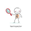 tax inspector with magnifying glass