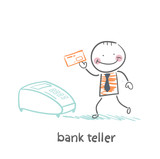 bank teller with the apparatus