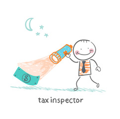 tax inspector with a lantern looking for money