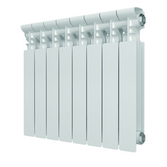 White aluminum heating radiator.