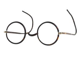 vintage glasses on white background.