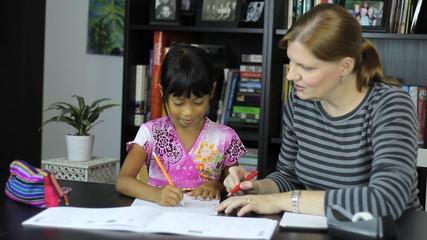 Homeschool Mom Teaching Spelling Lesson