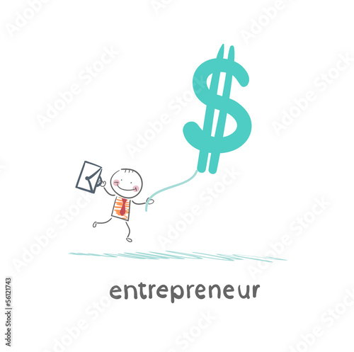 entrepreneur flying with dollar